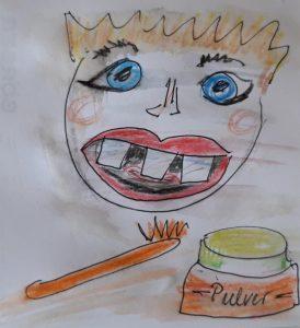 Skizze Kopf Zahnbürste Zahnpulver